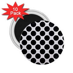 Circles2 Black Marble & White Linen 2 25  Magnets (10 Pack)