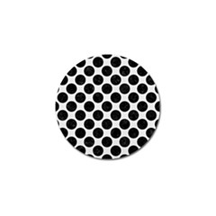 Circles2 Black Marble & White Linen Golf Ball Marker (4 Pack)