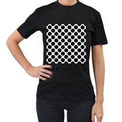 Circles2 Black Marble & White Linen Women s T Shirt (black) (two Sided)