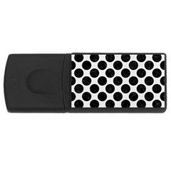 Circles2 Black Marble & White Linen Rectangular Usb Flash Drive