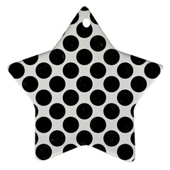 Circles2 Black Marble & White Linen Star Ornament (two Sides)
