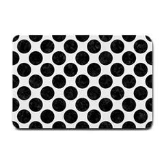 Circles2 Black Marble & White Linen Small Doormat