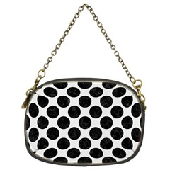 Circles2 Black Marble & White Linen Chain Purses (two Sides)