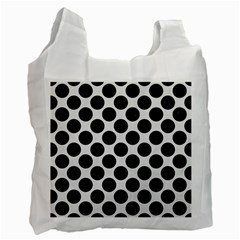 Circles2 Black Marble & White Linen Recycle Bag (two Side)
