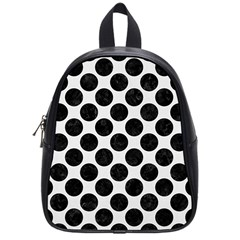Circles2 Black Marble & White Linen School Bag (small)