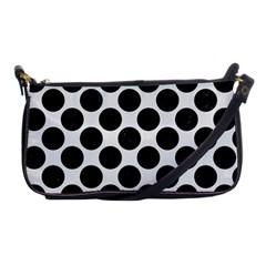 Circles2 Black Marble & White Linen Shoulder Clutch Bags