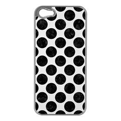 Circles2 Black Marble & White Linen Apple Iphone 5 Case (silver)