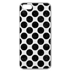 Circles2 Black Marble & White Linen Apple Seamless Iphone 5 Case (clear)