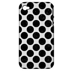 Circles2 Black Marble & White Linen Apple Iphone 4/4s Hardshell Case (pc+silicone)