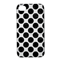 Circles2 Black Marble & White Linen Apple Iphone 4/4s Hardshell Case With Stand