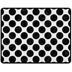 Circles2 Black Marble & White Linen Double Sided Fleece Blanket (medium)