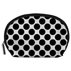 Circles2 Black Marble & White Linen Accessory Pouches (large)