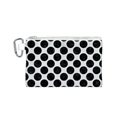 Circles2 Black Marble & White Linen Canvas Cosmetic Bag (s)