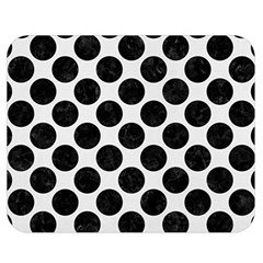 Circles2 Black Marble & White Linen Double Sided Flano Blanket (medium)