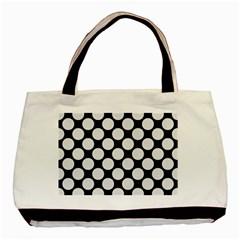 Circles2 Black Marble & White Linen (r) Basic Tote Bag
