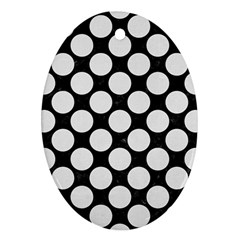 Circles2 Black Marble & White Linen (r) Oval Ornament (two Sides)