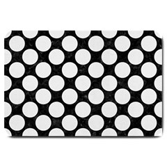 Circles2 Black Marble & White Linen (r) Large Doormat