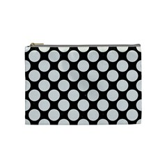Circles2 Black Marble & White Linen (r) Cosmetic Bag (medium)
