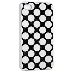 Circles2 Black Marble & White Linen (r) Apple Iphone 4/4s Seamless Case (white)
