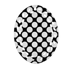 Circles2 Black Marble & White Linen (r) Oval Filigree Ornament (two Sides)