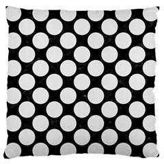 Circles2 Black Marble & White Linen (r) Large Cushion Case (two Sides)