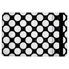 Circles2 Black Marble & White Linen (r) Ipad Air Flip