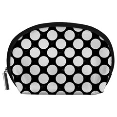 Circles2 Black Marble & White Linen (r) Accessory Pouches (large)