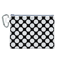 Circles2 Black Marble & White Linen (r) Canvas Cosmetic Bag (l)