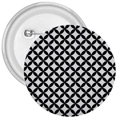Circles3 Black Marble & White Linen 3  Buttons