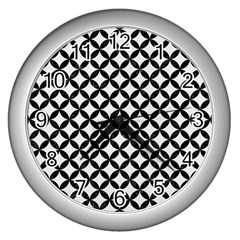 Circles3 Black Marble & White Linen Wall Clocks (silver)