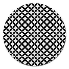 Circles3 Black Marble & White Linen Magnet 5  (round)