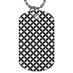 Circles3 Black Marble & White Linen Dog Tag (two Sides)