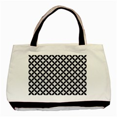 Circles3 Black Marble & White Linen Basic Tote Bag (two Sides)