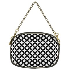 Circles3 Black Marble & White Linen Chain Purses (two Sides)