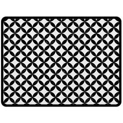 Circles3 Black Marble & White Linen Fleece Blanket (large)