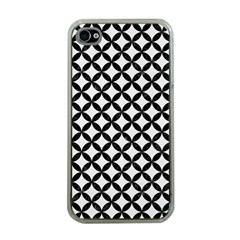 Circles3 Black Marble & White Linen Apple Iphone 4 Case (clear)
