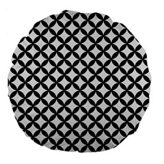 Circles3 Black Marble & White Linen Large 18  Premium Round Cushions