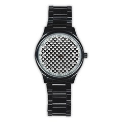 Circles3 Black Marble & White Linen Stainless Steel Round Watch