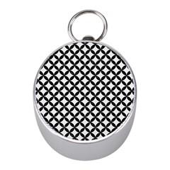 Circles3 Black Marble & White Linen Mini Silver Compasses