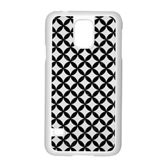 Circles3 Black Marble & White Linen Samsung Galaxy S5 Case (white)