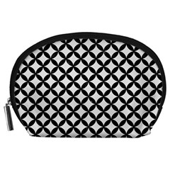 Circles3 Black Marble & White Linen Accessory Pouches (large)