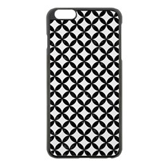 Circles3 Black Marble & White Linen Apple Iphone 6 Plus/6s Plus Black Enamel Case