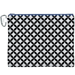 Circles3 Black Marble & White Linen Canvas Cosmetic Bag (xxxl)