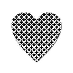 Circles3 Black Marble & White Linen (r) Heart Magnet