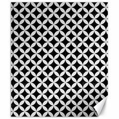 Circles3 Black Marble & White Linen (r) Canvas 20  X 24