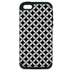 Circles3 Black Marble & White Linen (r) Apple Iphone 5 Hardshell Case (pc+silicone)