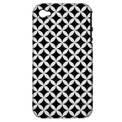 Circles3 Black Marble & White Linen (r) Apple Iphone 4/4s Hardshell Case (pc+silicone)