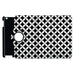 Circles3 Black Marble & White Linen (r) Apple Ipad 3/4 Flip 360 Case
