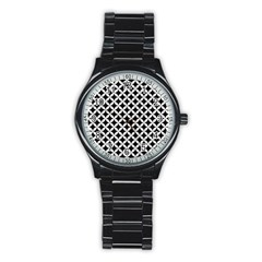 Circles3 Black Marble & White Linen (r) Stainless Steel Round Watch