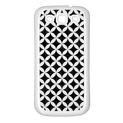 Circles3 Black Marble & White Linen (r) Samsung Galaxy S3 Back Case (white)